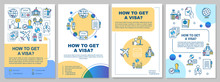 How To Get Visa Brochure Template. International Document. Flyer, Booklet, Leaflet Print, Cover Design With Linear Icons. Vector Layouts For Magazines, Annual Reports, Advertising Posters
