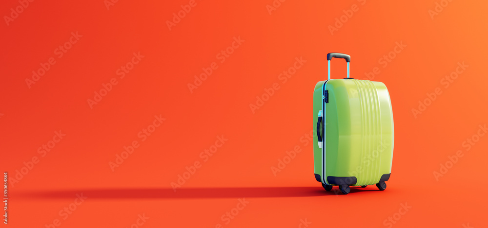Fototapeta Green luggage ready for travel on lush orange background 3D Rendering