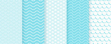 Seamless Pattern With Wave. Vector. Turquoise Wavy Background. Set Textures With Stripes, Curly Lines. Simple Illustration. Sea Geometric Prints. Marine Design.