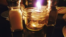 Illuminated Candle By Salt And...