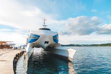 Sea Catamaran At Dock Summer S...