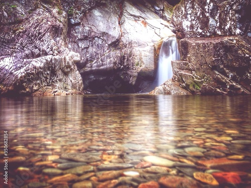 Scenic View Of Waterfall At Aviemore Canvas Print