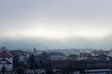 Fototapeta Londyn - Low cloud cover the mountains.