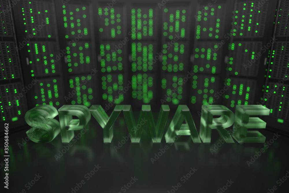 Fototapeta SPYWARE text on server room background. Conceptual 3D rendering