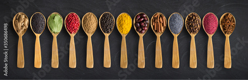 Fotografie, Obraz Colorful spices on the table