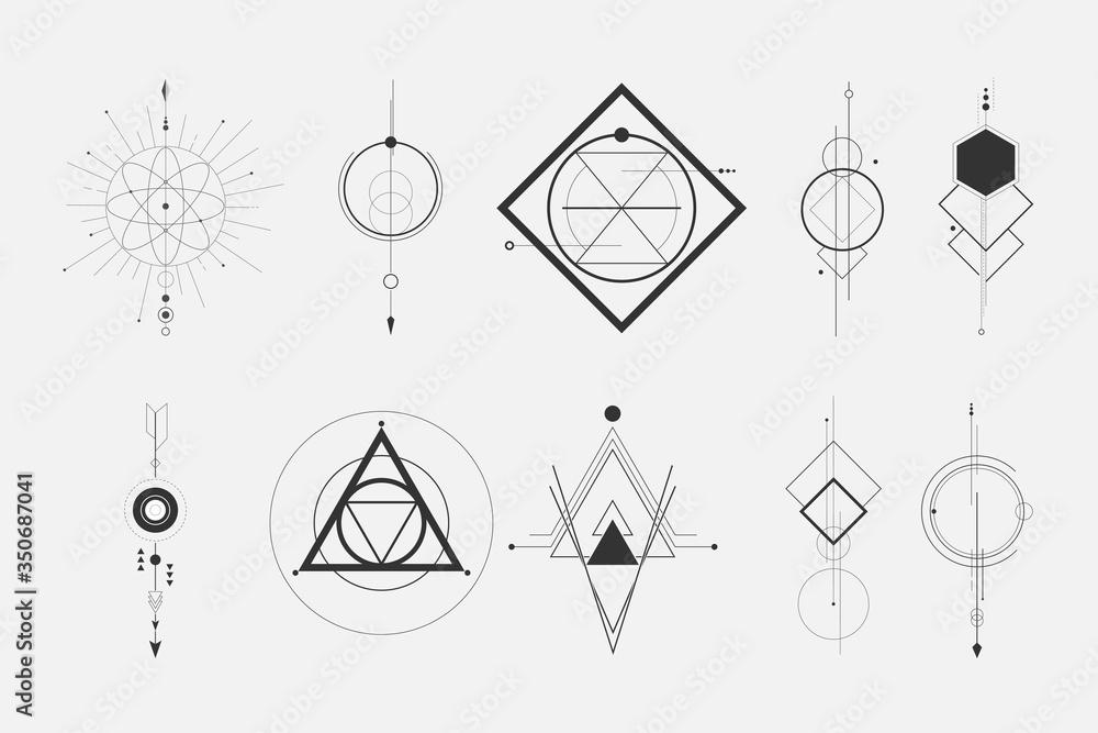 Fototapeta set of a minimalist geometric design elements tattoo. - hipster concept.