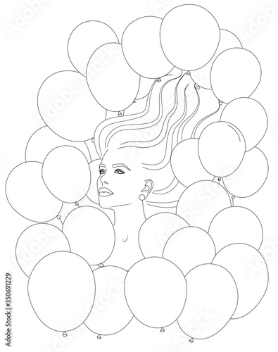 Papel de parede Young woman portrait blown away with many balloons coloring page stress free for