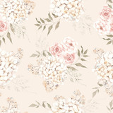 Seamless pattern with creamy flowers and leaves, dried bouquets, isolated on colored background - 350691800