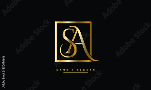 SA ,AS ,S ,A  letters abstract logo monogram Canvas Print