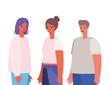 Women and man avatars cartoons vector design