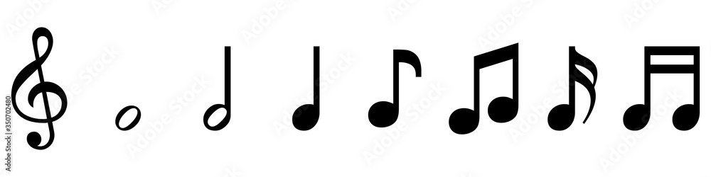 Fototapeta vector set of musical symbols - treble clef and notes