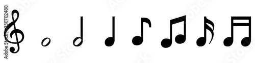 Photo vector set of musical symbols - treble clef and notes