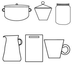 vector set of kitchen utensils