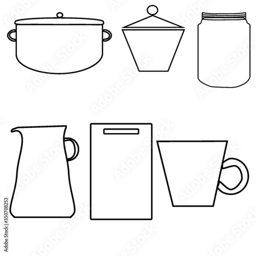 vector set of kitchen utensils - 350708253