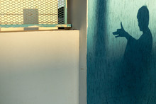 Dog Shadow On The Sun Light On The Blue Wall,child Play Concept. Free Space For Text