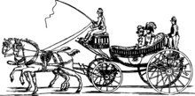 Old Hand Drawn Illustration Of A Royal Carriage