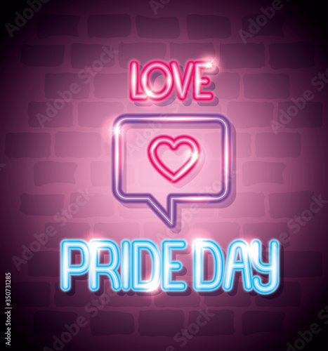 pride day neon light with speech bubble and heart vector illustration design
