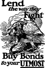 Drawing Of A War Bond Poster, Vector Sketch Of A Early 20th Century Engraving