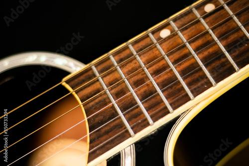 Photo cordas, traste, violão