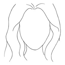 Monochrome Black White Fashion Woman Girl Empty Face Hairstyle Hair Sketched Line Art Vector