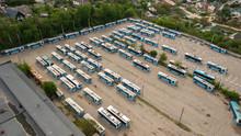 Many Trolleybuses Parked In Front Of The Trolley Depot Hangar. Social Transport. Vinnytsia, Ukraine, 2020