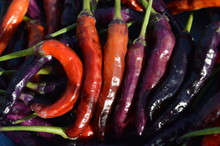 Full Frame Shot Of Various Chili Peppers For Sale In Market