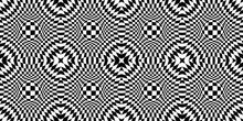 Abstract Optical Illusion. Chess Board With Psychedelic Spherical Volume. Contrasty Optical Psychedelic Illusion. Checkered Seamless Pattern With Optical Illusion Of Spherical Volume. Animated Hypnoti