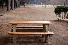 Empty Picnic Table At Park