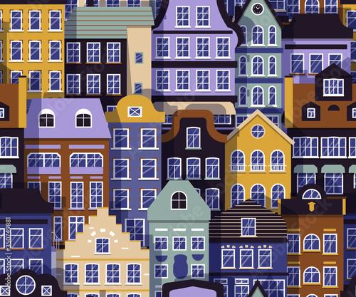 Photo Building street seamless pattern