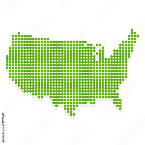 Fotografie, Obraz アメリカ 地図 緑 アイコン