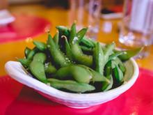 White Bowl Of Edamame Green Beans With Sea Salt
