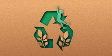 Social Recycling Papercut Concept Of Recycle Icon