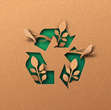 Green Recycle Icon Eco Papercu...