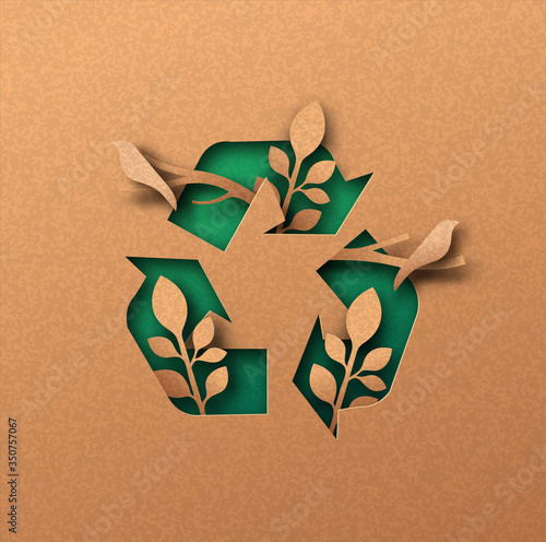 Fototapeta Green recycle icon eco papercut nature concept obraz