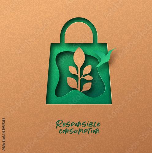 Obraz Responsible consumption green 3d papercut concept - fototapety do salonu