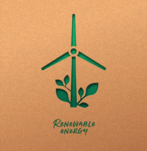 Renewable Energy Cutout Concept Of Green Wind Mill