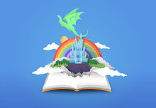 Open Book Of 3d Papercut Magic Fantasy Story