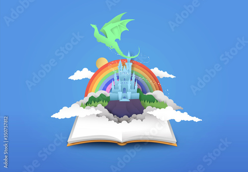 Fotografiet Open book of 3d papercut magic fantasy story