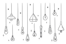 Set Of Ceiling Or Hanging Light Bulb With Doodles Hand Drawn Style. Different Types Halogen Bulbs Set. Isolated Conceptual Vector Illustration