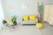 Leinwanddruck Bild Interior of modern room with comfortable sofa