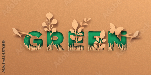 Photo Green 3D paper cut nature quote label concept