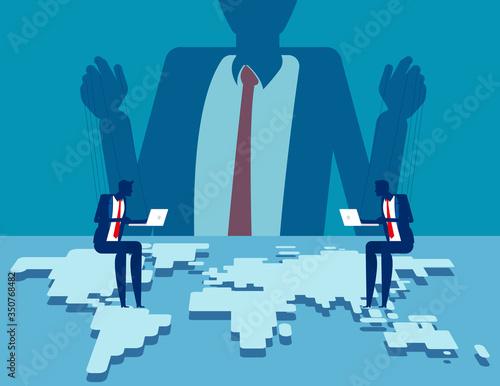 Corporate manipulating people behind the scenes Canvas Print