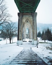 View Of Snow Covered Bridge In Winter
