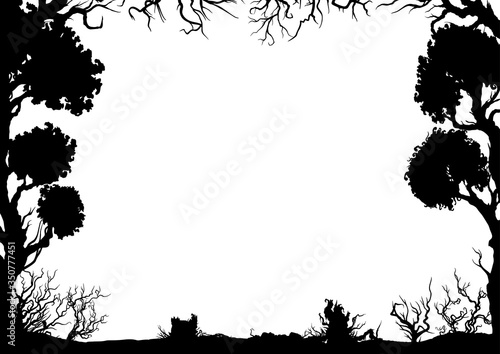 Fotografía Decorative horizontal forest frame/ Illustration frame with trees and shrubs sil