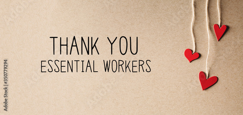 Obraz Thank You Essential Workers message with handmade small paper hearts - fototapety do salonu