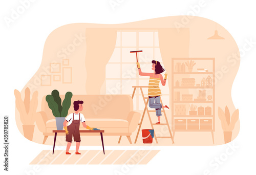 Cheerful children are cleaning together at home in the living room Wallpaper Mural