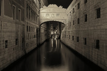 Bridge Of Sighs Over Canal In City At Night