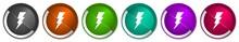 Bolt Icon Set, Silver Metallic...