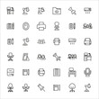Big set of office space line icons.
