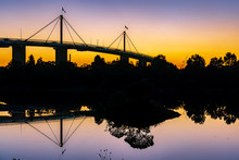West Gate Bridge At Sunset As Seen From The West Gate Park, Melbourne, Australia